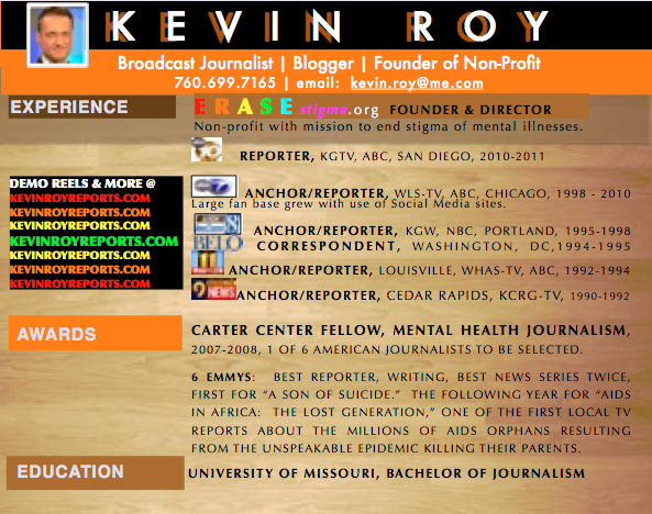 TV News Anchor, Reporter & Host Kevin Roy's Resume